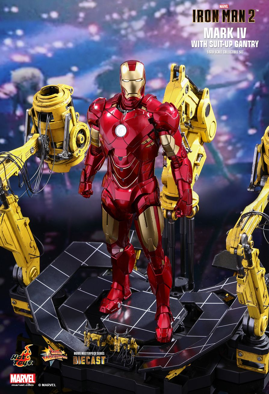 Iron Man Mark IV with Suit-Up Gantry  Collectible Set by Hot Toys  DIECAST Movie Masterpiece Series - Iron Man 2